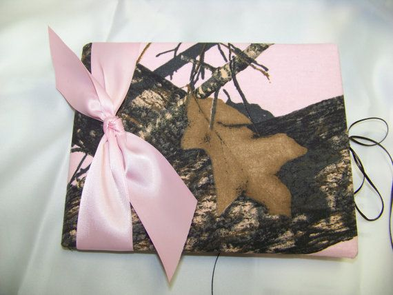 Pink Mossy Oak guest book Camouflage hunter by memoriescollection