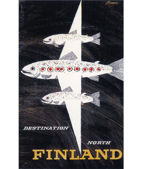 YES. Fishes on everything!! – Finland print for Finnair c1958 - Design by Erik Bruun