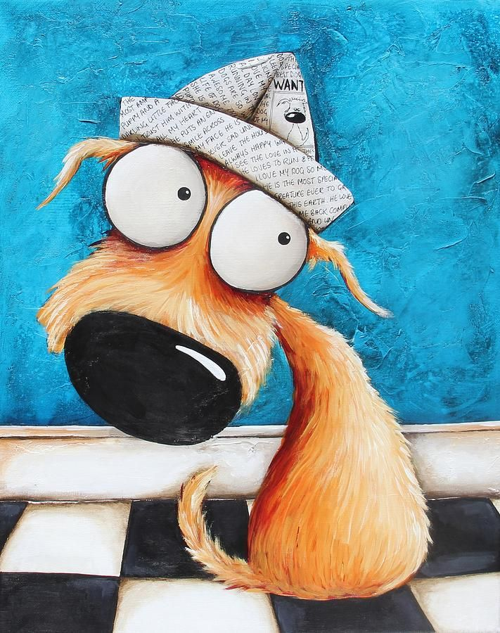 Dog Painting - Paper Hat by Lucia Stewart