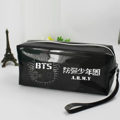 Bangtan Boys BTS A.R.M.Y Logo Glossy PU Leather Black Pencil Case. #BangtanBoys #BTS #A.R.M.Y #Logo #Glossy #PULeather #Black #PencilCase