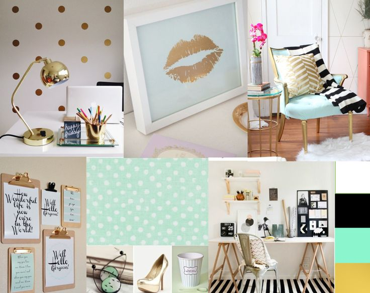 Wedding Planning Styling & Design student Ashlea has treated us to her vision for her dream office with this stunning inspiration board featuring gorgeous gold and mint.
