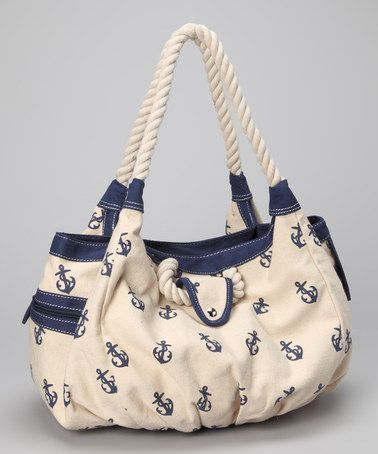 Another great find on #zulily! Navy & White Anchor Tote by Straw Studios #zulilyfinds $20
