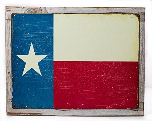 Framed Texas Flag Metal Sign Mounted on Rustic Weathered Wood *** Check this awesome product by going to the link at the image.
