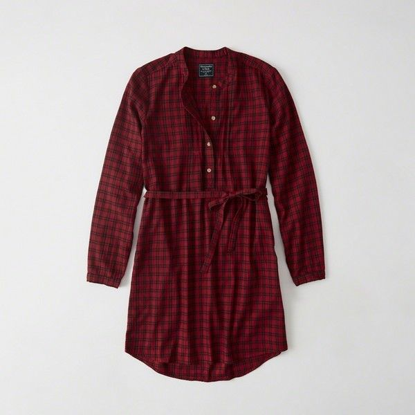 Abercrombie & Fitch Banded Collar Flannel Shirtdress ($34) ❤ liked on Polyvore featuring dresses, red plaid, red plaid dress, petite dresses, petite long sleeve dress, flannel shirt dress and red shirt dress