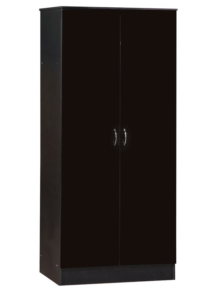 2 Door Wardrobe Closet Clothes Storage Cabinet Free Standing Black Gloss Mat New