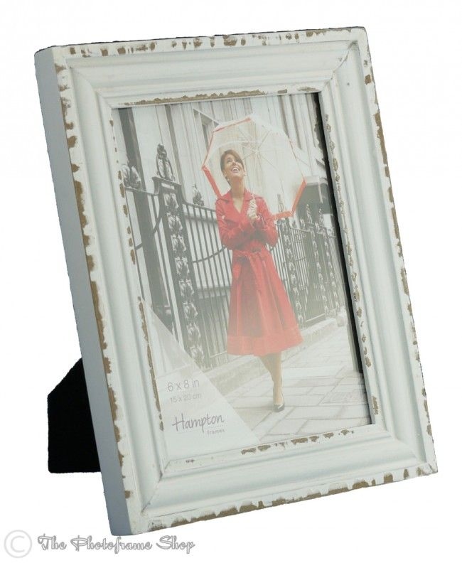 """Shabby Chic distressed White Wooden Photoframes for 6""""X4"""" - 10""""x8"""" Pictures. 6"""