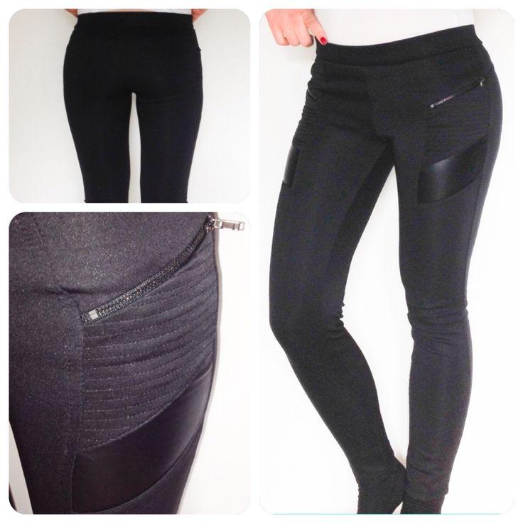 Miss coquine. Legging bi-matière noir a 18.99 €.  Taille S. Poches zip matelassées et une bande de simili cuir.  Référence : 1945