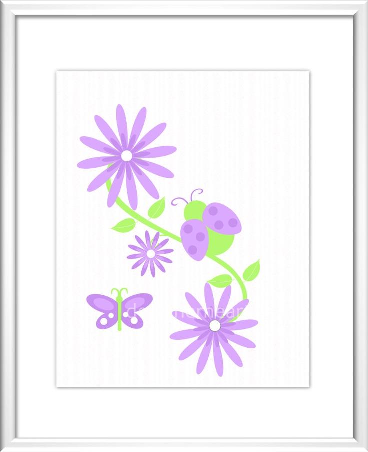 Baby Nursery Wall Art  - Digital Art -  Flowers - LadyBug - Butterfly - Pink - Purple - Red - Baby Nursery Decor - Kids Room - Nursery Art.