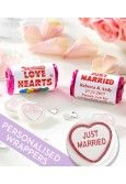 Just Married Love Hearts with Personalised Wrappers