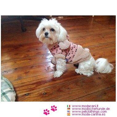 Mantel Rosa mit Pelz für Hunde #Hunde #Malteser - Mantel für Hunde aus Polyester, mit rosa gesteppten Stoff; innen ist es heiß, aber nicht geeignet für regnerische Tage, denn es ist nicht wasserdicht