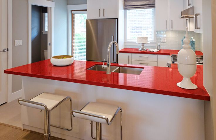 Energy Kitchen Lively And Powerful Red Quartz Countertops