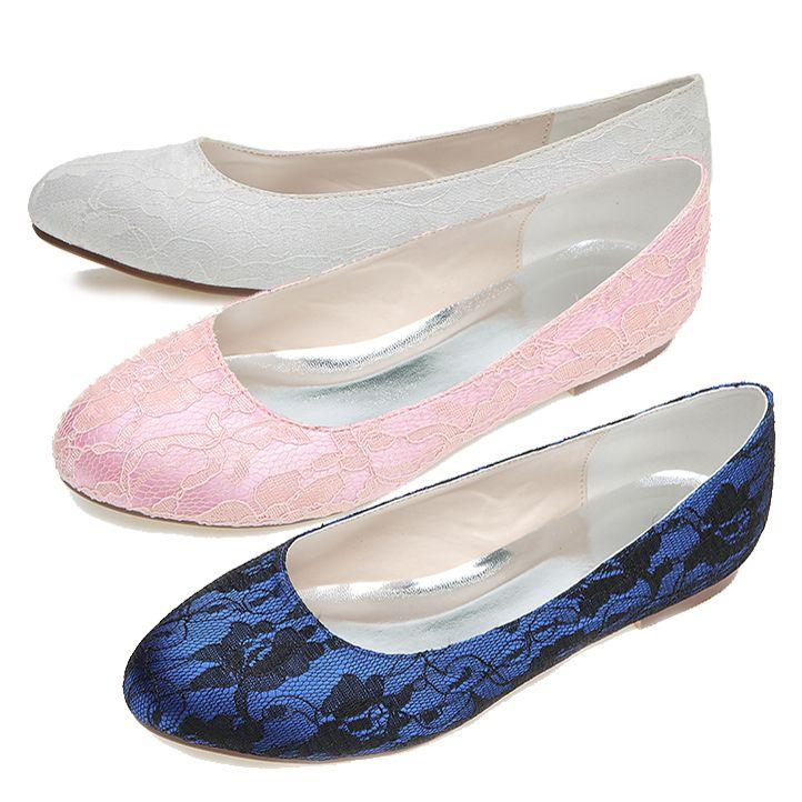 Сладкий закругленным носком женщина кружева квартиры slip on обувь розовый белый синий элегантный люкс свадебное пром коктейль розовые туфли