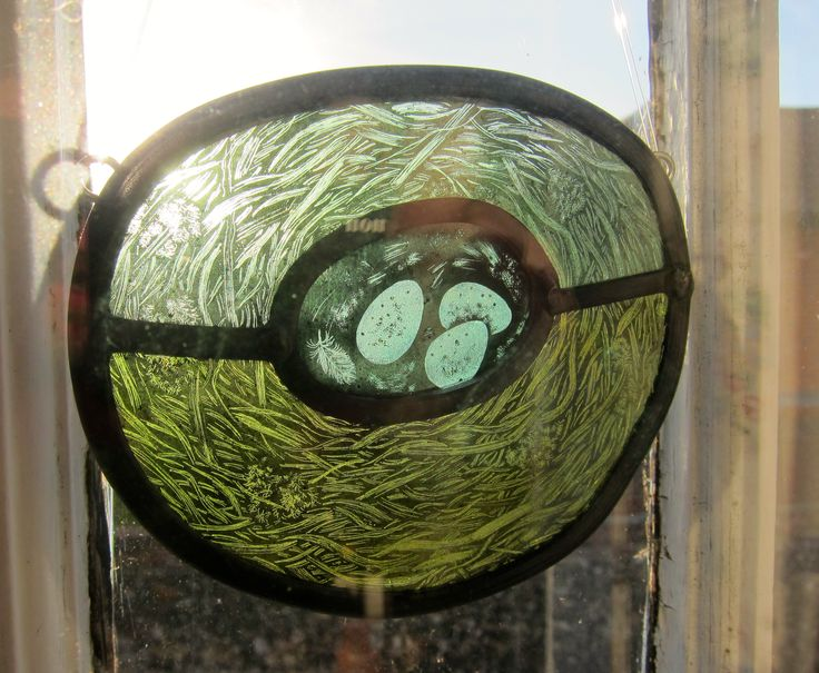 Bird's nest stained glass roundel, by Tamsin Abbott