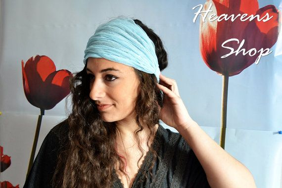 Light Blue Headband Made of Tulle Turban With by HeavensShop