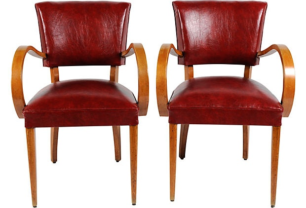 A beautiful pair of curved arm 1930s French Bridge Chairs, $1599 - NSY OneKingsLane.com