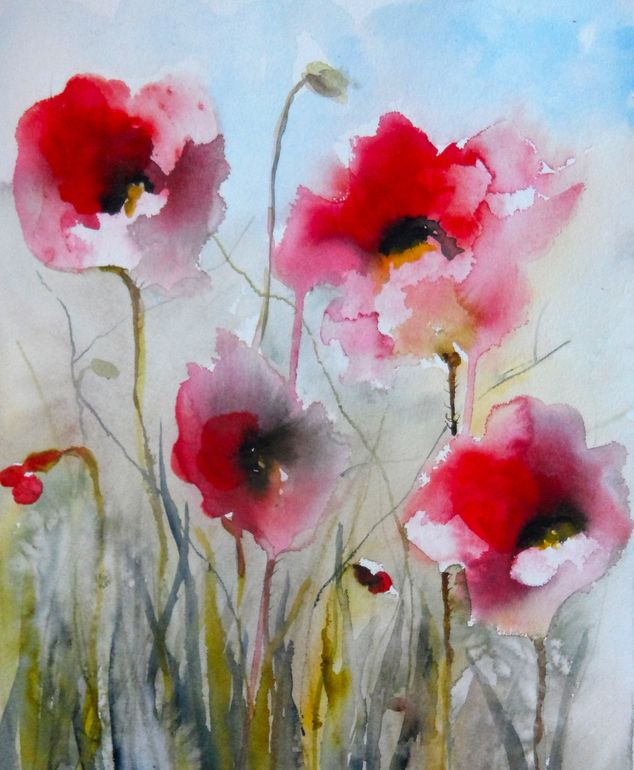 "Saatchi Online Artist: Karin Johannesson; Watercolor 2013 Painting ""Field Poppies II"""