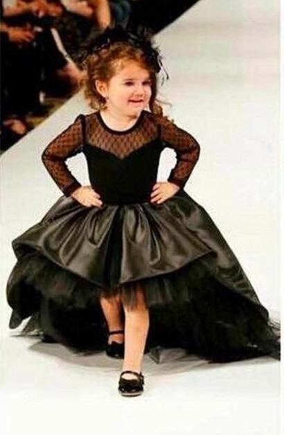 2016 vestido de Baile Da Menina de Flor Vestidos Com Mangas Compridas Jewel Meninas Vestido de Festa Pageant Vestidos Black Satin Tulle Alta baixo