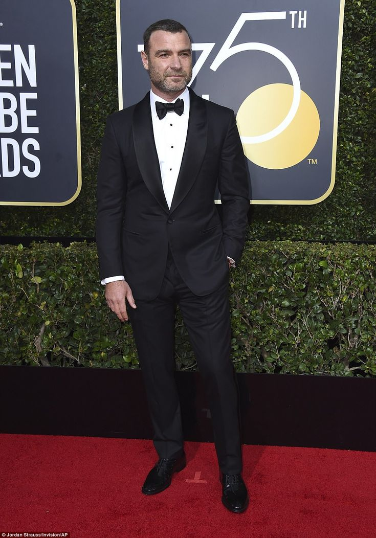Bearded gentleman: Liev Schreiber chose a bow tie as well for this Golden Globes look
