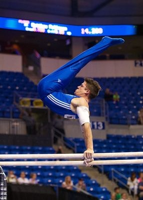 Chris Brooks competes on the parallel bars during the June 7 prelims at the 2012 Visa Championships, the qualification meet for the USA Gymnastics Olympic Trials. Brooks finished third in the all-around competition after night