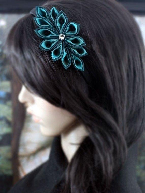 Deep Lagoon  Silk Tsumami Kanzashi Flower Headband by PetalMix