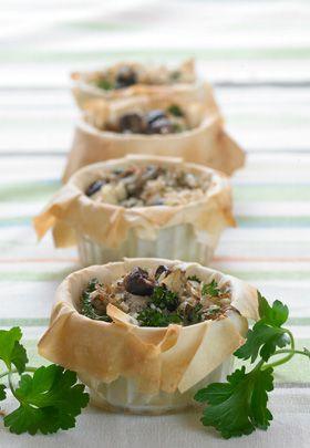 Fillotærter med artiskok, feta og oliven   Super til en anderledes og fyldig brunch