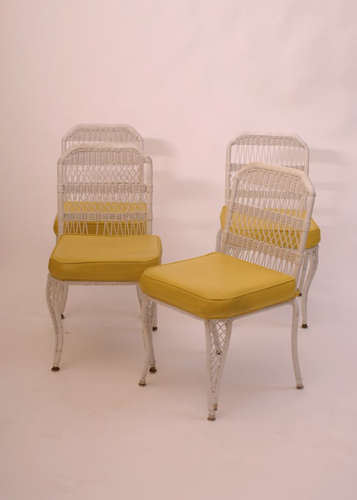 Four Vintage Wicker Rattan Yellow Cushion Patio Outdoor Chairs   Harrington  Galleries