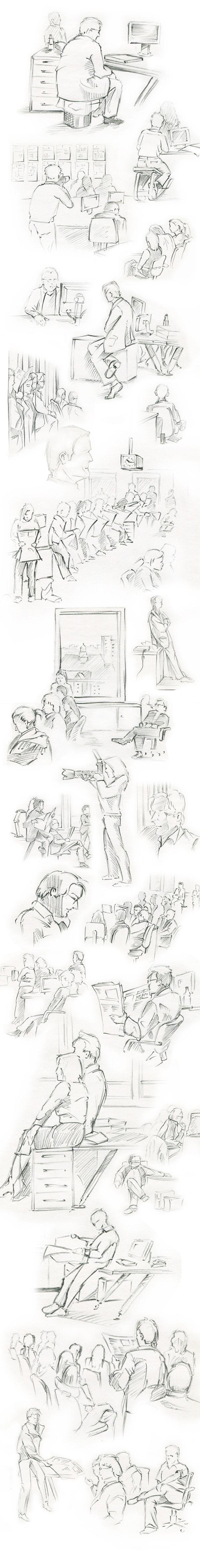 Schriblles aus dem Bild-Konferenzraum, 2004.