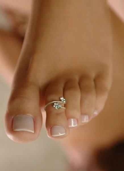 French manicure for the feet. Love this little toe ring!