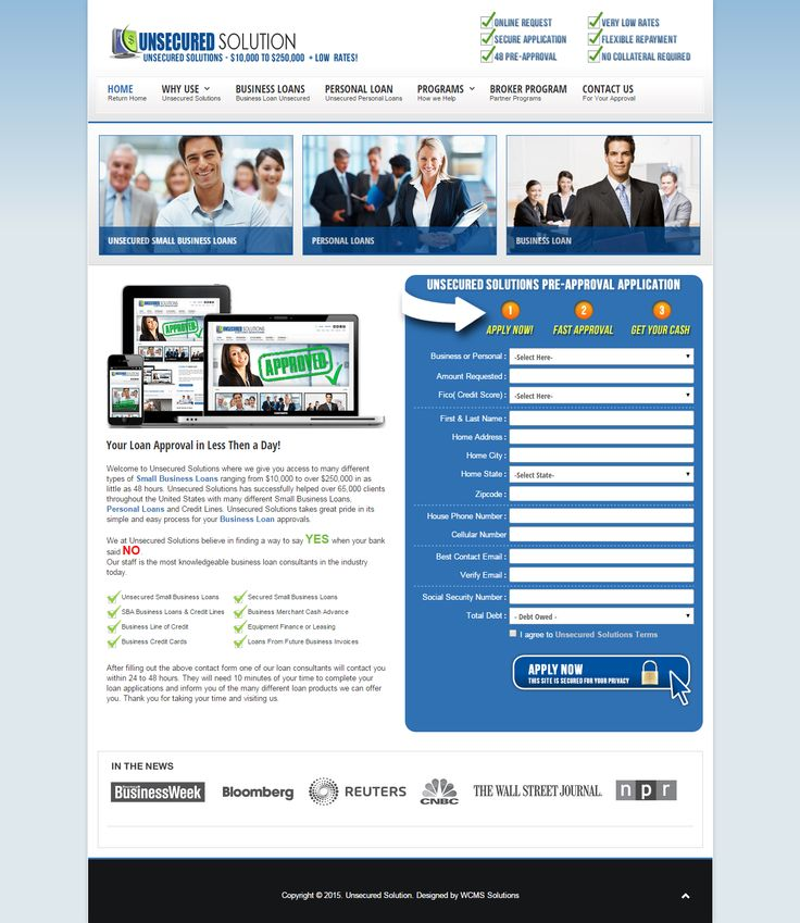 Welcome to Unsecured Solutions where we give you access to many different types of Small Business Loans ranging from $10,000 to over $250,000 in as little as 48 hours. Unsecured Solutions has successfully helped over 65,000 clients throughout the United States with many different Small Business Loans, Personal Loans and Credit Lines.  goo.gl/LWfemY