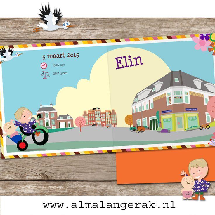 Op deze #geboortekaartjes staat de leuke bovenwoning van het gezin en de winkel waar zij boven wonen. Ook veel #kinderfietsjes, #fietsen en #bakfietsen . Verder #grachtenpanden en #kasteel #Frankendael (daar wonen ze om de hoek) op dit kaartje. Ook grote zus Hannah staat natuurlijk op het kaartje nagetekend, met achterop haar #fietsje zusje Elin.