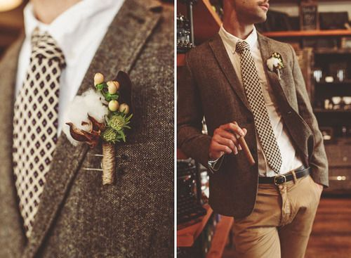 I don't know much about grooms fashion, but this looks great. The jacket's got a nice texture to it, and the boutonniere is more interesting to look at than the traditional flower ones. I can also appreciate the pants. www.studio1079news.com www.greenweddingshoes.com