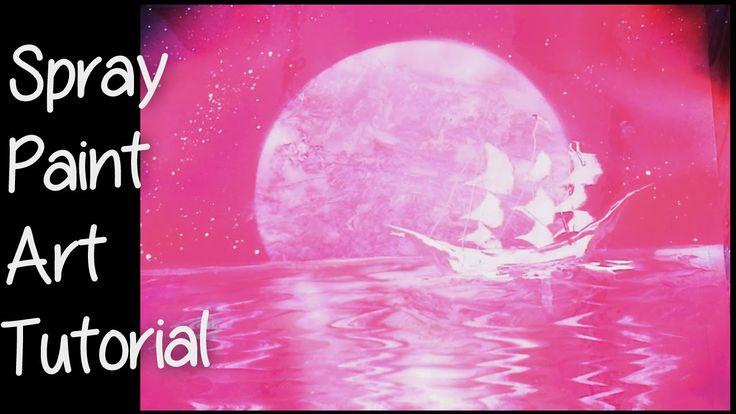 SPRAY PAINT ART - Moon Boat, Boot Onder De Maan Tutorial