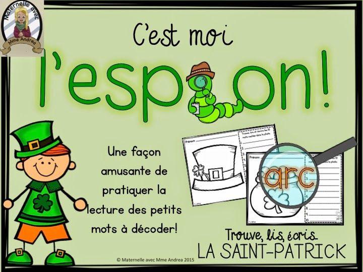 GRATUIT - C'est moi l'espion - la Saint-Patrick. Vos élèves vont beaucoup s'amuser en cherchant des mots cachés dans la photo avec une vraie loupe!