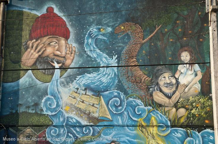 Sixth Museum mural by Mario Moreno and Soledad Vargas, (Sofrenia and Reciclandomuros) street painters in the towns of Puente Alto and Renca respectively. This time, our mural is part of the concept of Myths and Legends Chilean illustrating several of them in the design, which was made with latex paint on concrete wall.