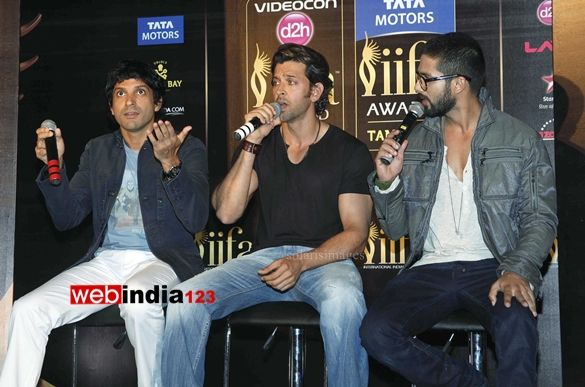 HOME arrow BOLLYWOOD   EVENTS    Press conference of IIFA Awards 2014   Bollywood actors Farhan Akhtar, Hritik Roshan and Shahid Kapoor durng the press conference of International Indian Film Academy (IIFA) Awards 2014 in Mumbai, India, on March 27, 2014.  http://movie.webindia123.com/movie/asp/event_gallery.asp?cat_id=2&p_id=0&e_no=7693