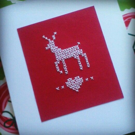 Cross-stitch reindeer Christmas card for Connor
