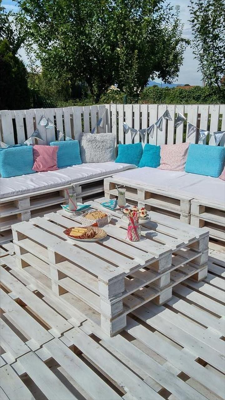 DIY Pallet Patio Furniture - Pallets Garden Party Lounge Projects   101 Pallet Ideas