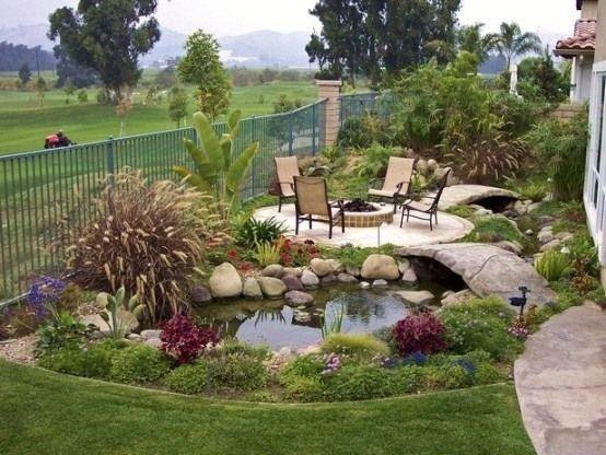 patio teich-design pfad brücke | gartengestaltung | pinterest | patio, Garten und Bauen