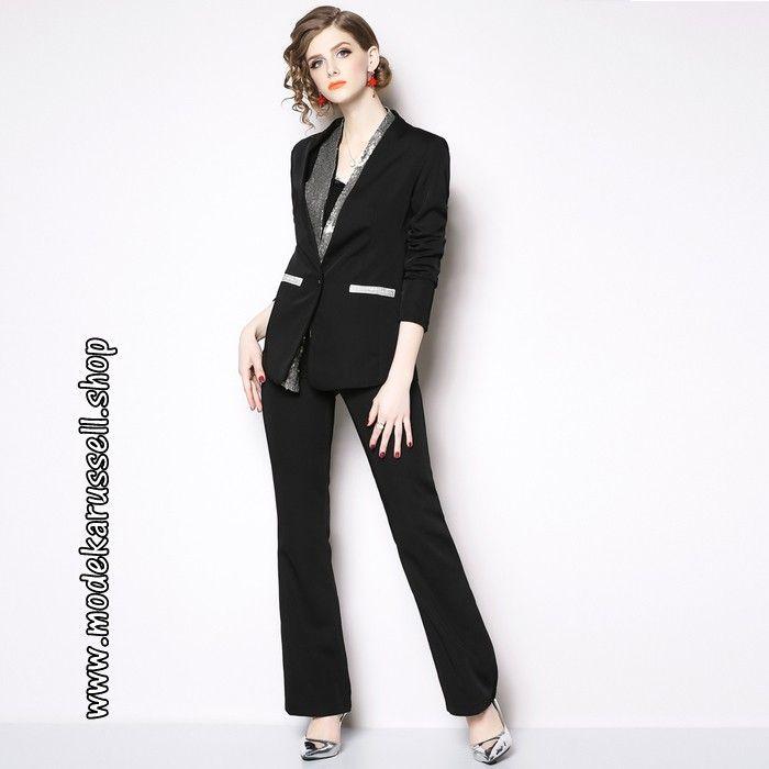 viele Stile klassischer Stil stylistisches Aussehen Damen Business Hosenanzug 2019 Schwarz | Damenmode 2020 ...