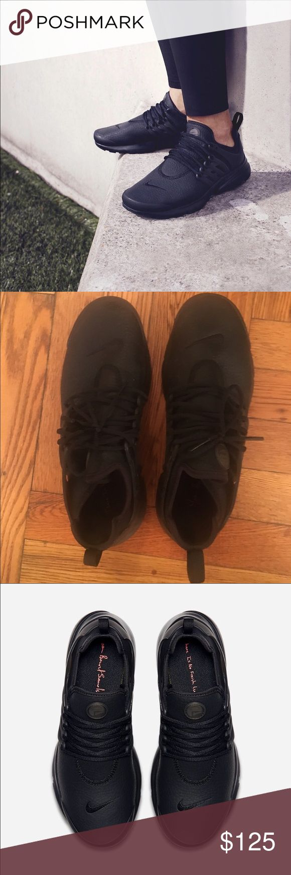 Nike Black Leather Presto size 8 Nike Beautiful x Powerful all black leather Presto sneaker size 8. Worn twice. Nike Shoes Athletic Shoes