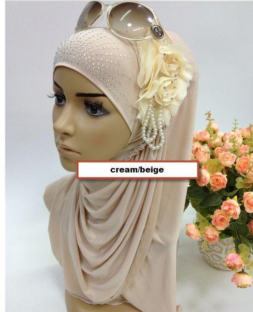 NEW 3D flower pearl pretty muslim Hijab pullover Veil hegab amirah 1 piece scarf #onepieceamirahhijab
