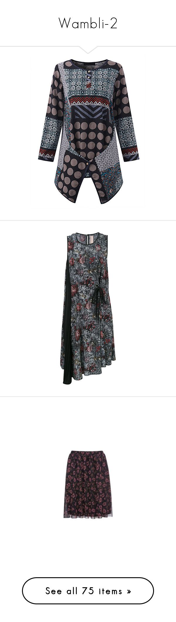 """Wambli-2"" by lorika-borika on Polyvore featuring tops, vintage tops, vintage print shirt, vintage patterned shirts, sleeved shirt, long-sleeve shirt, dresses, multicolour, drawstring waist dress и multi coloured dress"