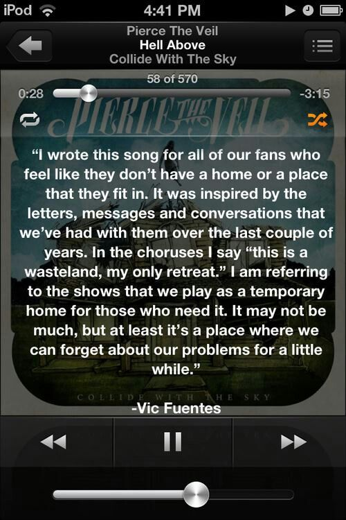 Vic Fuentes (PTV) on Hell Above If it cost me my job and car i will see them. This song got me threw alot!!!!