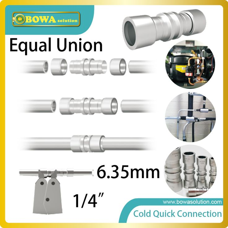 Diameter 6.35mm cold quick connection union installed in