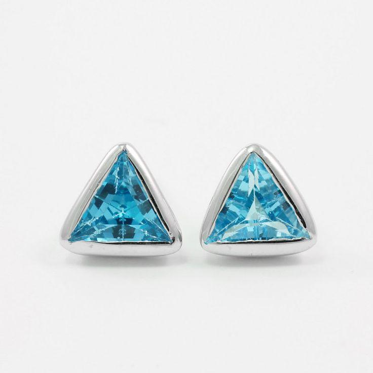 Blue topaz stud earrings Sterling silver triangle by Freesize