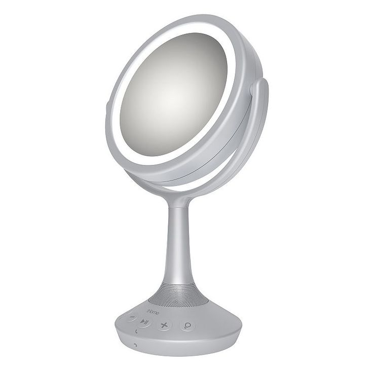 iHome 5X Double-Sided Vanity Mirror with Bluetooth Speaker, Multicolor