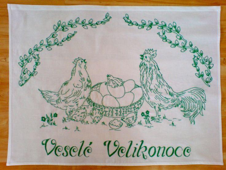 Vyšívaná kuchařka Ručně vyšívané bílé plátno 80x60 cm, určené k zavěšení na zeď. Možnost provedení vyšívky v jakékoliv barvě s termínem dodání do 2 týdnů.
