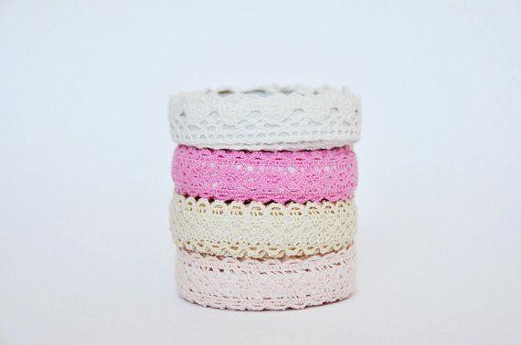 Nastro Adesivo di pizzo rosa / Lace Fabric Tape Pink di Partytude