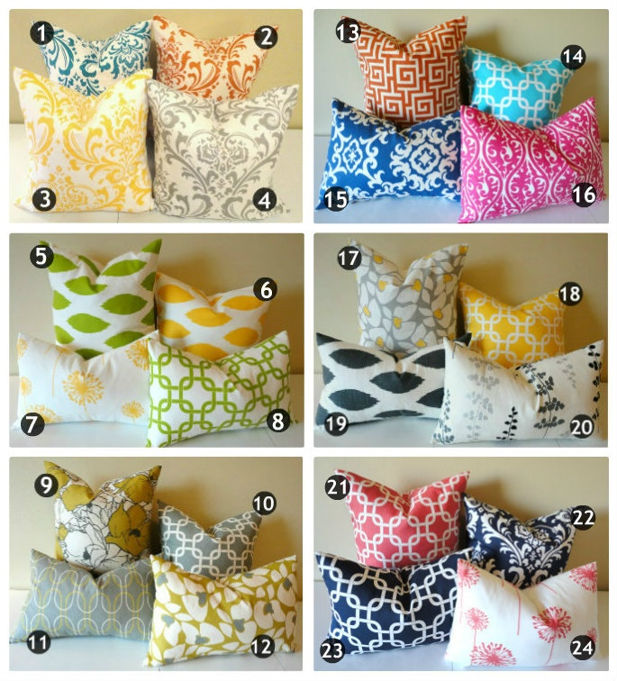 Designer Pillow Covers // 24 Prints in Your Choice of 2 Sizes. $24.00, via Etsy. {fun covers to spice up a room}