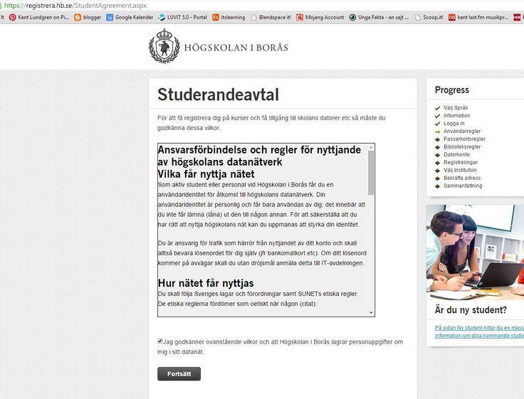 """Anmäla sig via antagningen till kursen https://registrera.hb.se/StudentAgreement.aspx Se även hur det ser ut i steget innan: http://www.pinterest.com/pin/199636195958326432/ . Mer om kursen """"Ubildningsbibliotek, IKT och nya medier"""": http://www.hb.se/Vill-studera/Program-och-kurser/Kurser-VT-2015/Utbildningsbibliotek-IKT-och-nya-medier/ . Steg för steg: http://www.hb.se/Student/Ny-student/Steg-for-steg-guide---Distansstudier/ . #Boraskurs"""
